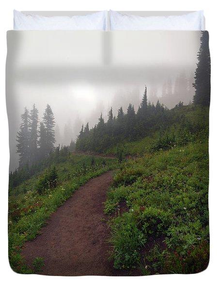 Foggy Crest Trail Duvet Cover by Mike  Dawson