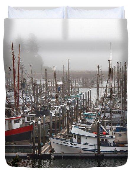 Foggy Ilwaco Port Duvet Cover by Robert Bales