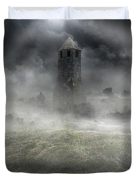 Foggy Landscape With Dark Tower Duvet Cover by Jaroslaw Blaminsky