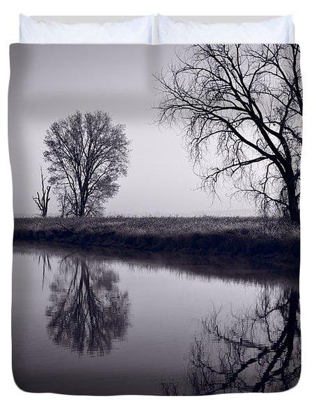 Foggy Morn BW Duvet Cover by Steve Gadomski