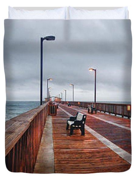 Foggy Pier  Duvet Cover by Michael Thomas