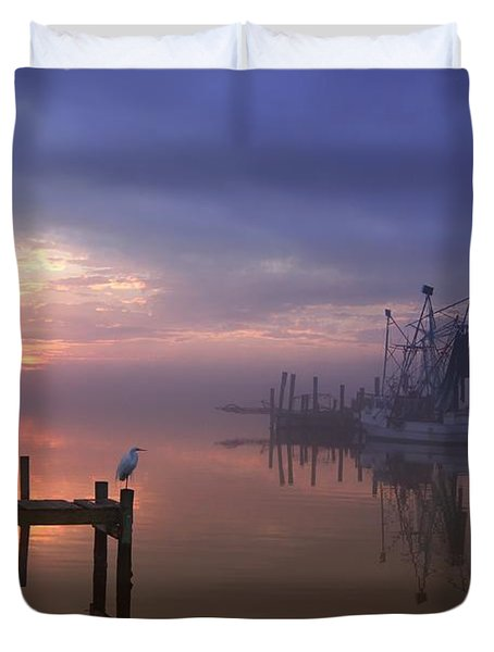 Foggy Sunset Over Swansboro Duvet Cover by Benanne Stiens