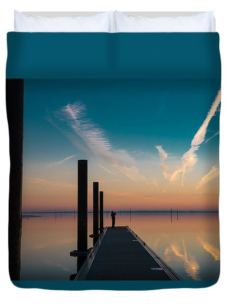 Duvet Cover featuring the photograph Follow Me by Thierry Bouriat