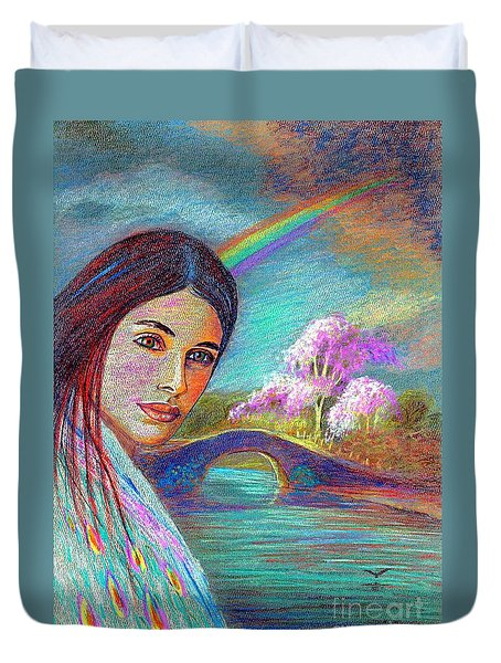 Following the Rainbow Duvet Cover by Jane Small