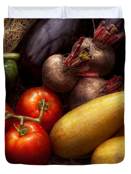 Food - Vegetables - Peppers Tomatoes Squash and some Turnips Duvet Cover by Mike Savad