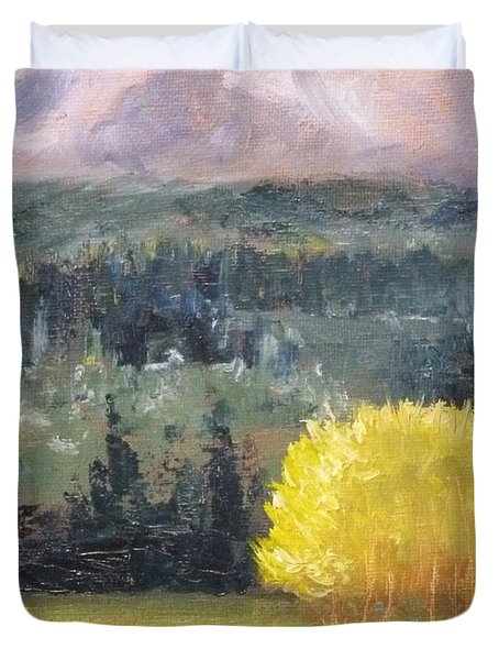Foot Of The Mountain Duvet Cover by Nancy Merkle