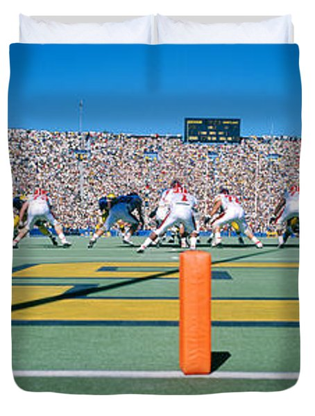 Football Game, University Of Michigan Duvet Cover by Panoramic Images