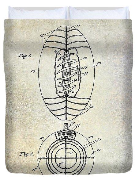 1925 Football Patent Drawing Duvet Cover by Jon Neidert