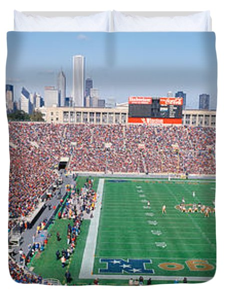 Football, Soldier Field, Chicago Duvet Cover by Panoramic Images