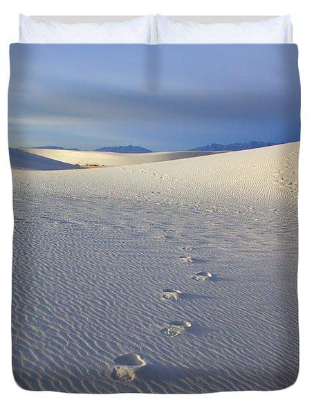 Footprints Duvet Cover by Mike  Dawson