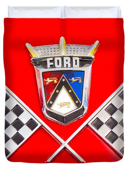 Ford Emblem Duvet Cover by Jerry Fornarotto