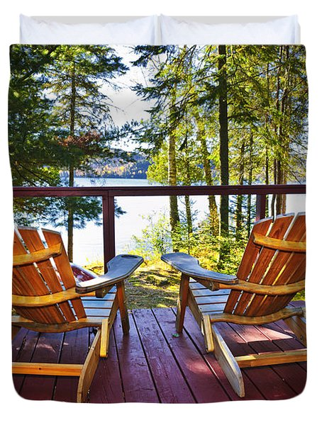 Forest Cottage Deck And Chairs Duvet Cover by Elena Elisseeva