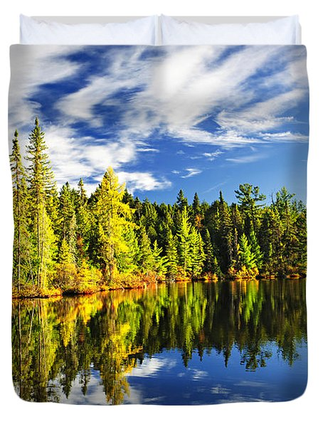 Forest Reflecting In Lake Duvet Cover by Elena Elisseeva