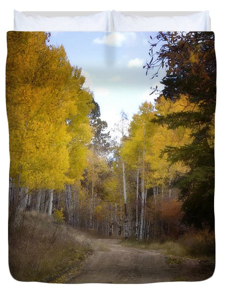 Forest Road In Autumn Duvet Cover by Ellen Heaverlo
