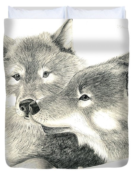 Forever Wolf Love-the Greeting Duvet Cover by Joette Snyder