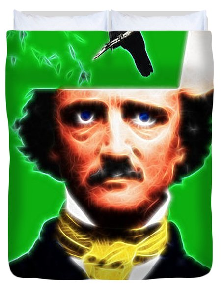 Forevermore - Edgar Allan Poe - Green - With Text Duvet Cover by Wingsdomain Art and Photography