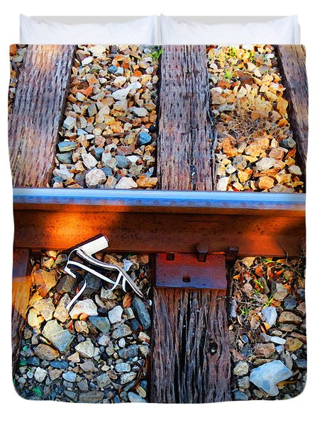 Forgotten - Abandoned Shoe On RailRoad Tracks Duvet Cover by Sharon Cummings