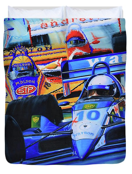 Formula 1 Race Duvet Cover by Hanne Lore Koehler