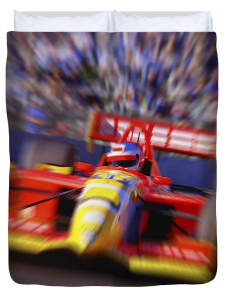 Formula Racing Car At Speed Duvet Cover by Don Hammond