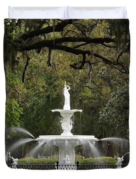 Forsyth Park Fountain - D002615 Duvet Cover by Daniel Dempster