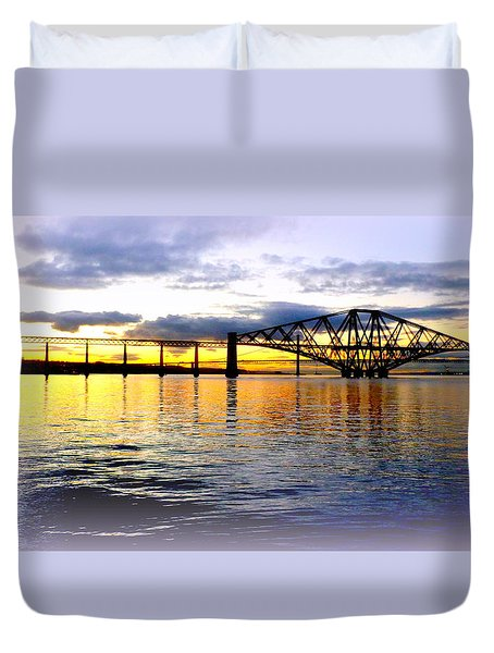 Forth Rail Bridge At Sunset Duvet Cover by The Creative Minds Art and Photography
