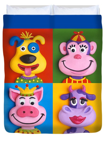Four Animal Faces Duvet Cover by Amy Vangsgard