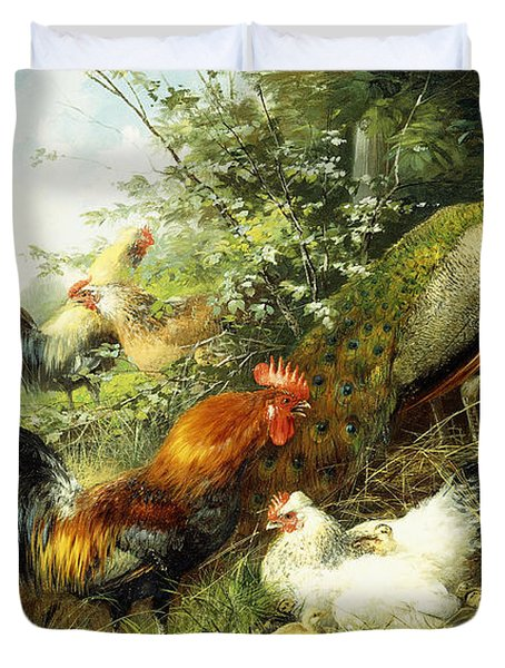 Fowl And Peacocks Duvet Cover by Arthur Fitzwilliam Tait