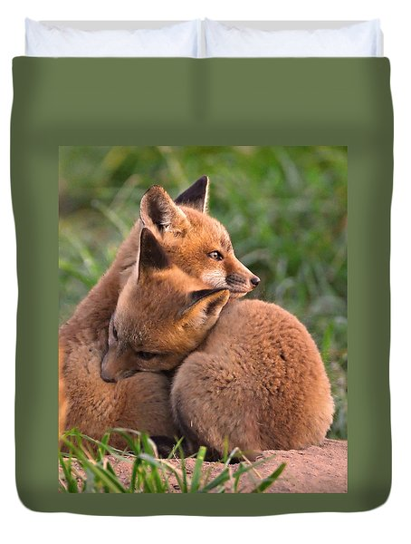 Fox Cubs Cuddle Duvet Cover by William Jobes