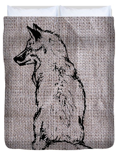 Fox On Burlap  Duvet Cover by Konni Jensen