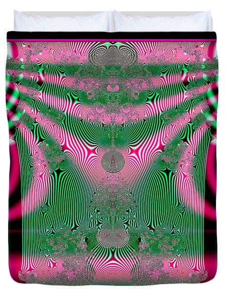 Fractal 34 Kimono In Pink And Green Duvet Cover by Rose Santuci-Sofranko