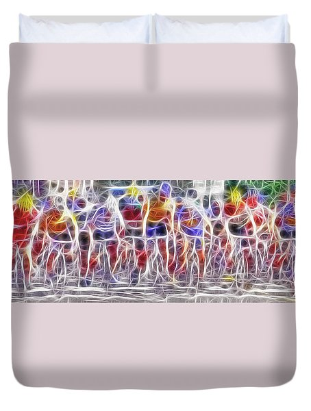 Fractal Cyclists Duvet Cover by Steve Ohlsen