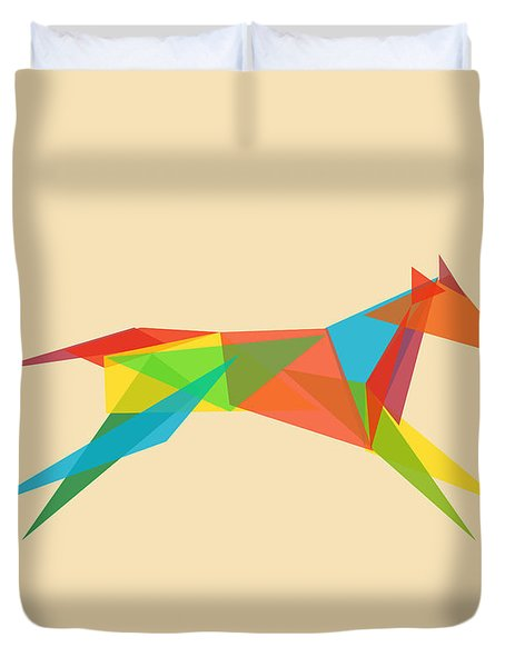 Fractal geometric dog Duvet Cover by Budi Satria Kwan