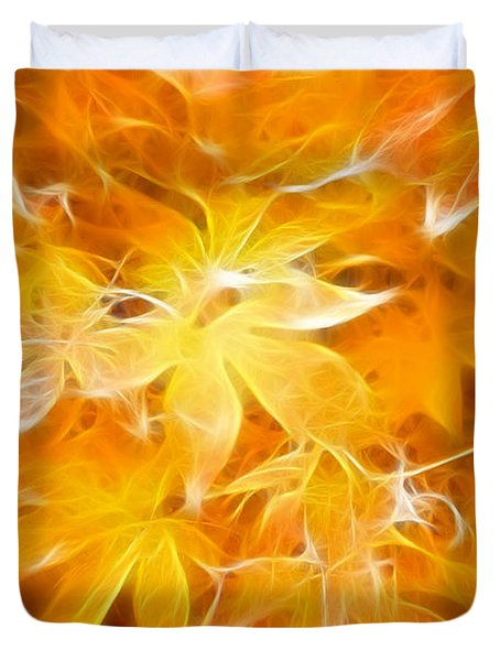 Fractal Gold 6664 Duvet Cover by Timothy Bischoff