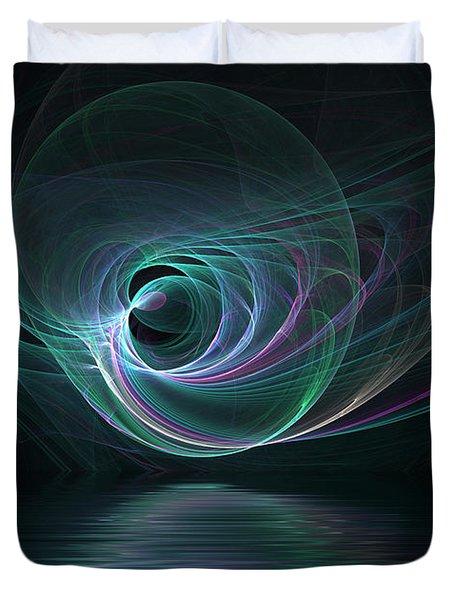 Fractal Lake Duvet Cover by Barbara Milton
