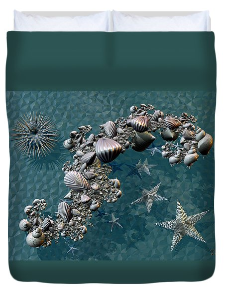 Fractal Sea Life Duvet Cover by Manny Lorenzo