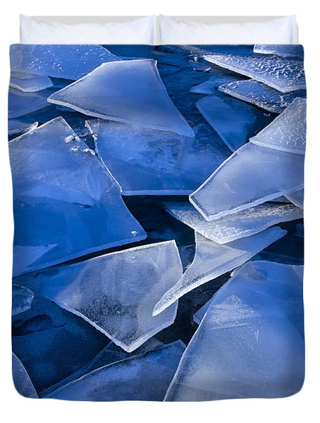 Fractured Surface Ice Drifted To The Duvet Cover by John Hyde