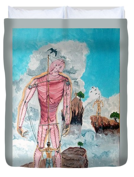 Fragiles colossus listen with music of the description box Duvet Cover by Lazaro Hurtado
