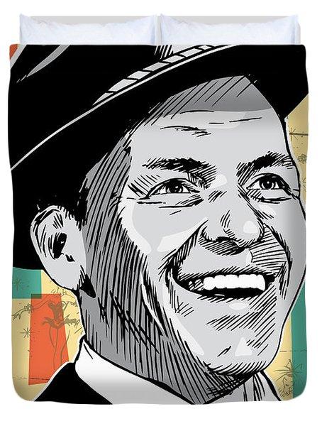 Frank Sinatra Pop Art Duvet Cover by Jim Zahniser