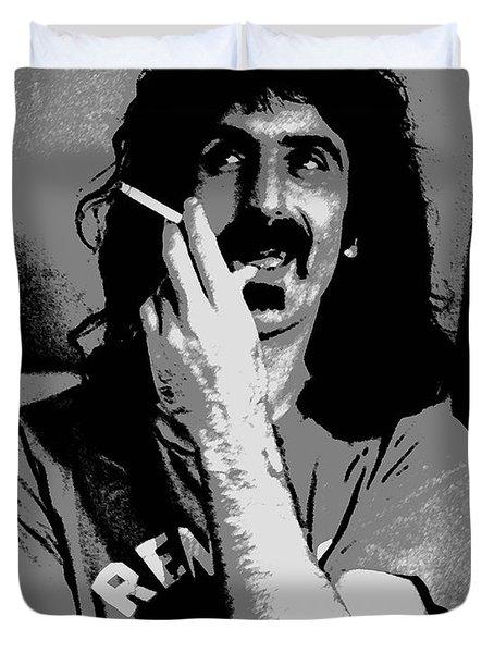Frank Zappa - Chalk and Charcoal Duvet Cover by Joann Vitali