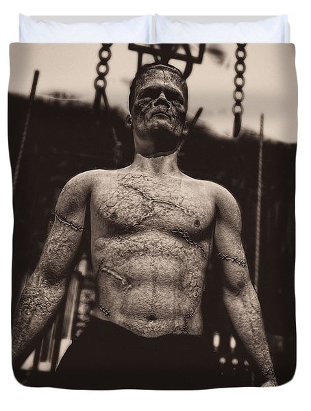 Frankenstein's Science Duvet Cover by Bob Orsillo