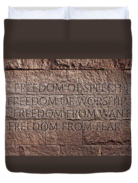 Franklin Delano Roosevelt Memorial Freedom Quote Duvet Cover by John Cardamone