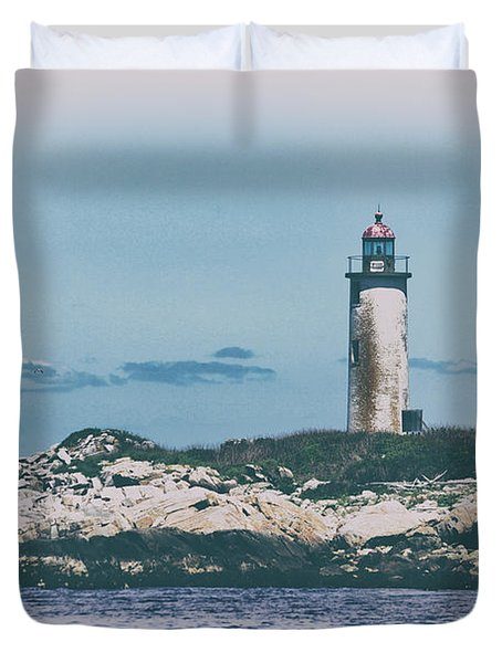 Franklin Island Lighthouse Duvet Cover by Karol Livote