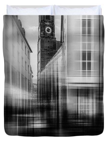 Frauenkirche - Muenchen V - Bw Duvet Cover by Hannes Cmarits