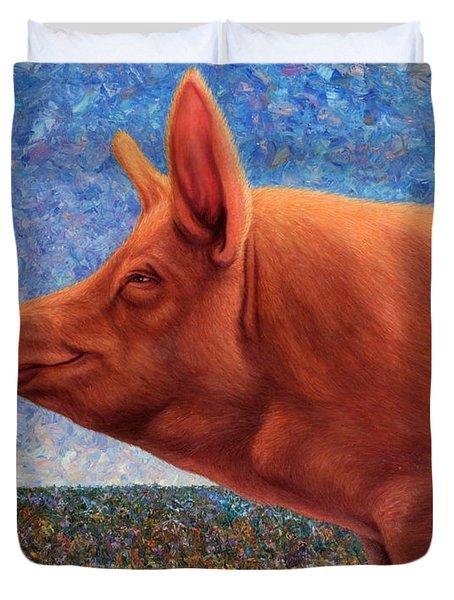 Free Range Pig Duvet Cover by James W Johnson