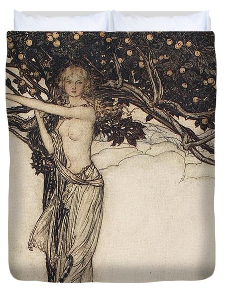 Freia The Fair One Illustration From The Rhinegold And The Valkyrie Duvet Cover by Arthur Rackham