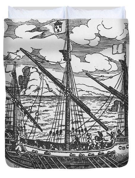 French Galley Operating In The Ports Of The Levant Since Louis Xi  Duvet Cover by French School