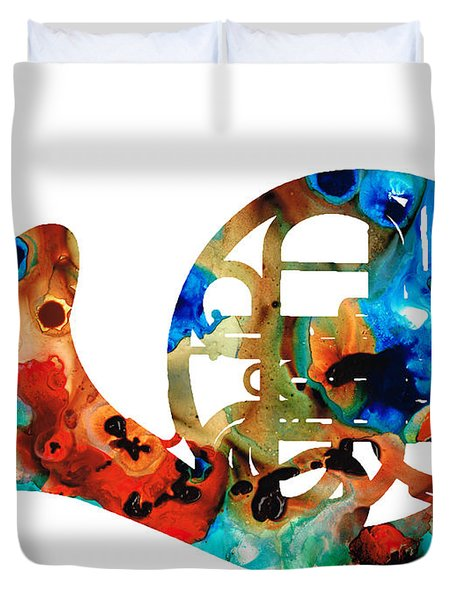 French Horn - Colorful Music by Sharon Cummings Duvet Cover by Sharon Cummings