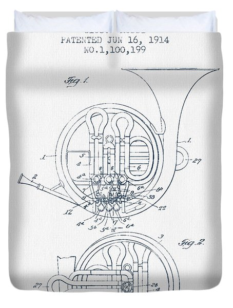 French Horn Patent From 1914 - Blue Ink Duvet Cover by Aged Pixel