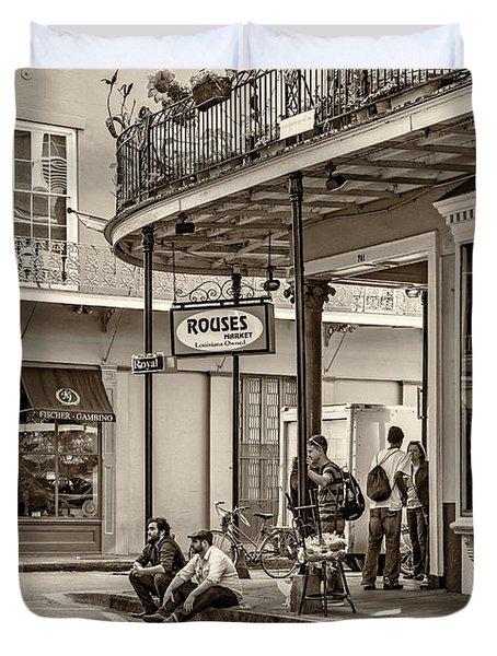 French Quarter - Hangin' Out Sepia Duvet Cover by Steve Harrington