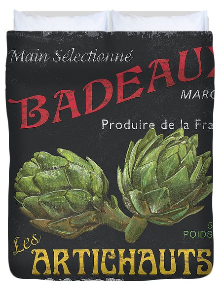 French Veggie Labels 1 Duvet Cover by Debbie DeWitt